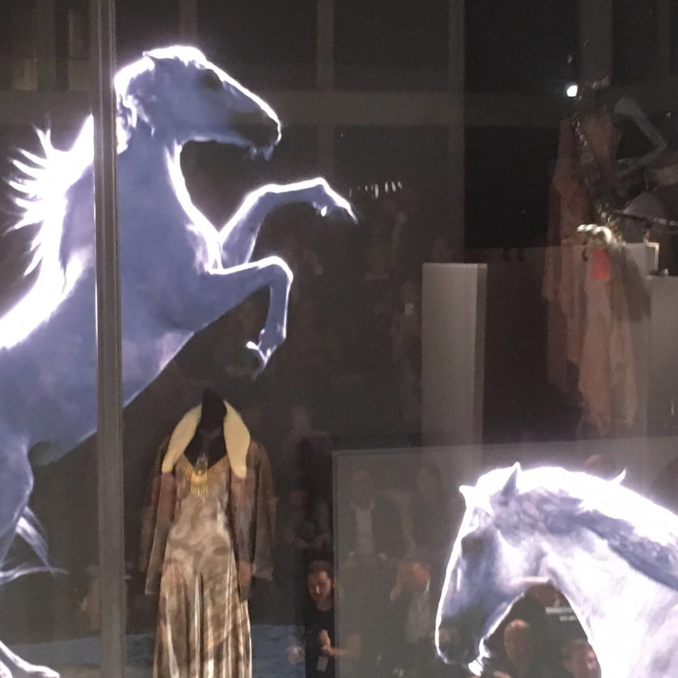 Ralph Lauren store window with video horses