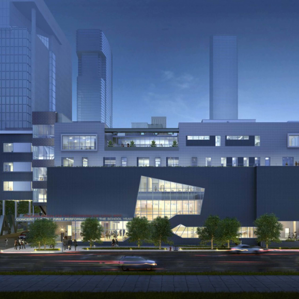 Rendering of new HSPVA building night view