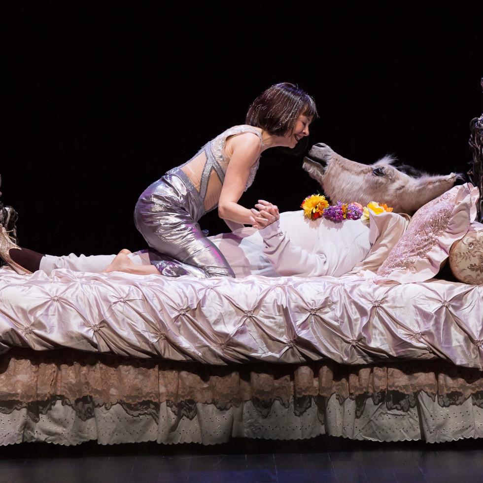 Alley Midsummer Night's Dream, Josie de Guzman as Titania and James Black as Bottom