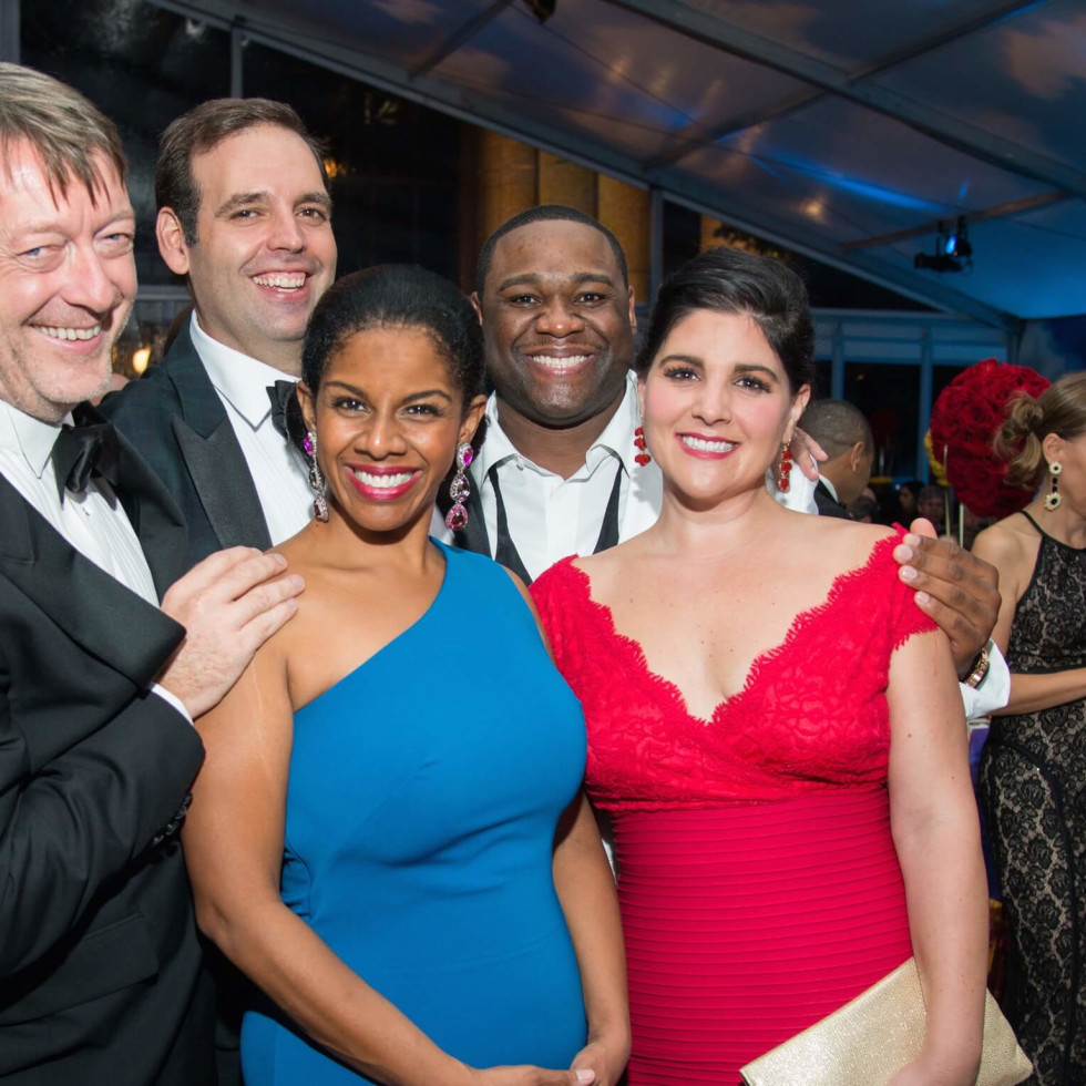 Daniel Slater, Dimitri Pittas, Nicole Heaston, Michael Sumuel, Alicia Gianni at Houston Grand Opera opening night