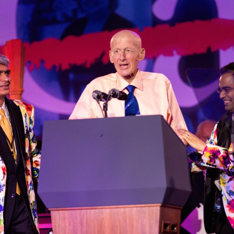 Muzaffar Qazilbash, Craig Sager, Naveen Pemmaraju at MD Anderson 75th anniversary gala
