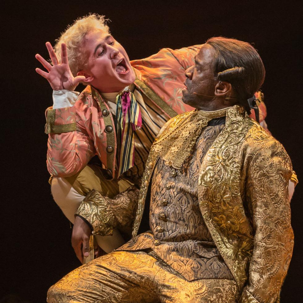 Adam Gillen and Lucien Msamati in Amadeus