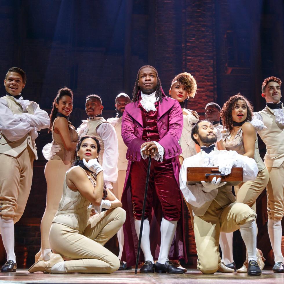 Chris De'Sean Lee and cast of Hamilton, Chicago company