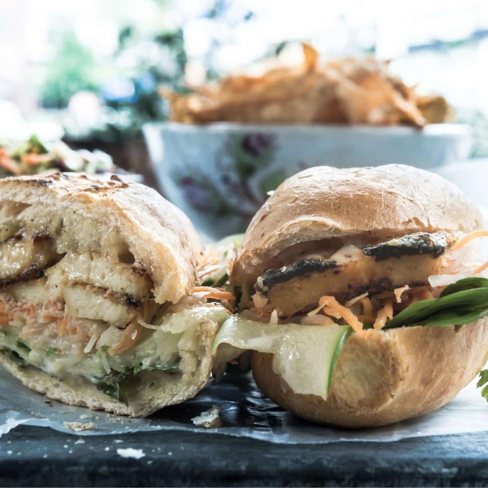 Banh Shop tofu banh mi sandwich