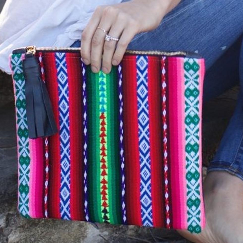 Sarah Sharp clutch of Peruvian fabric
