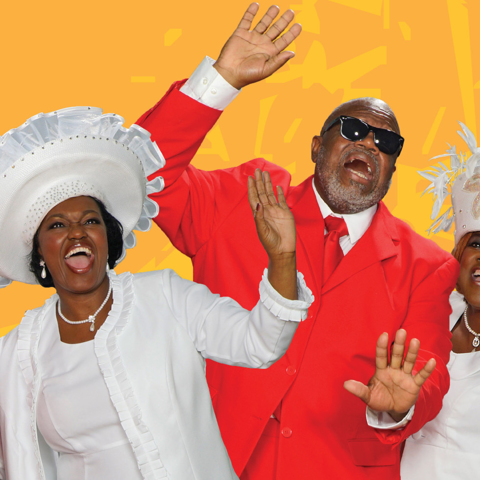 Felicia Dinwiddie, Tim Curry, and Judy Arnold in ZACH Theatre's The Gospel at Colonus
