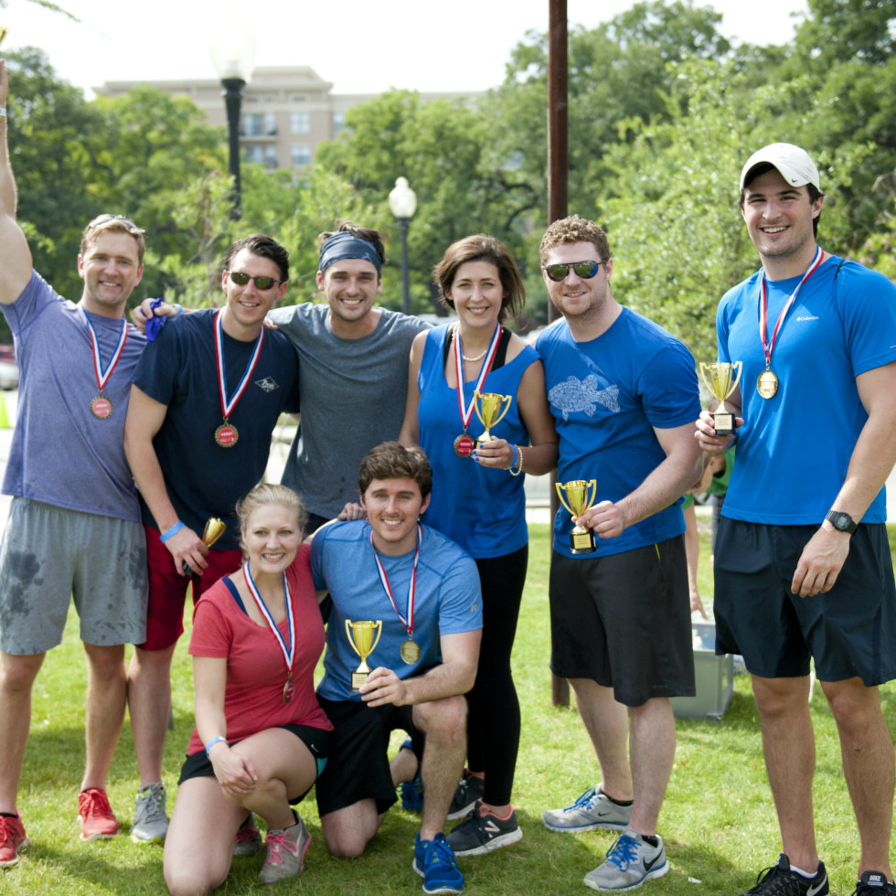 YCPD Field Day 2016 champs front row-   – Claire Carroll and Jack Gannon; Back row – Grant Blair, Jon Mitchell, Michael Trecha, Erin Dowell, Clair Gannon and Walt Prudhomme