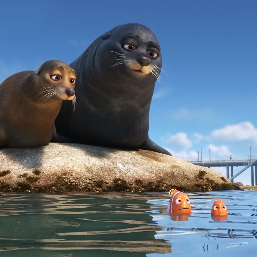 Rudder, Fluke, Marlin, and Nemo in Finding Dory