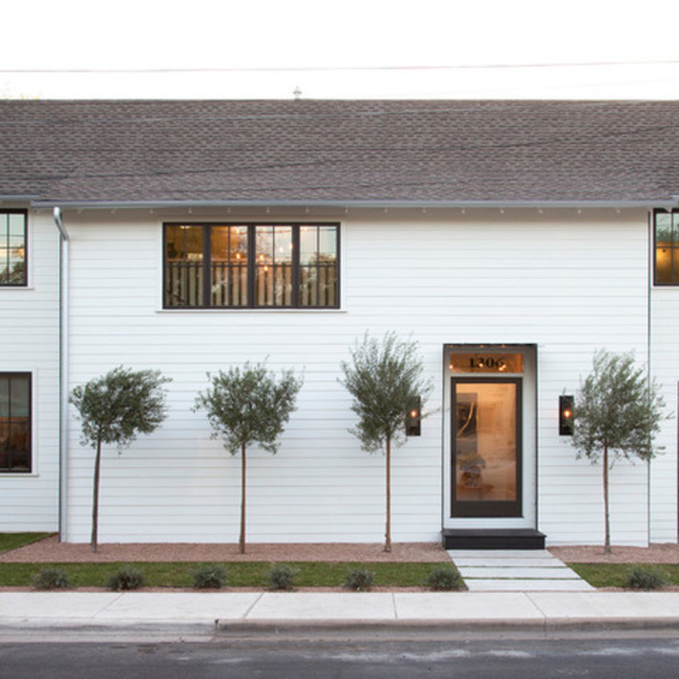 Houzz Austin home house modern Texas farmhouse exterior front