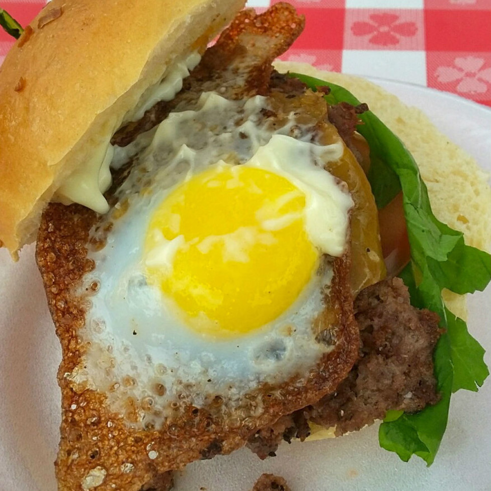Chorizo and egg burger from The Hoppy Monk.