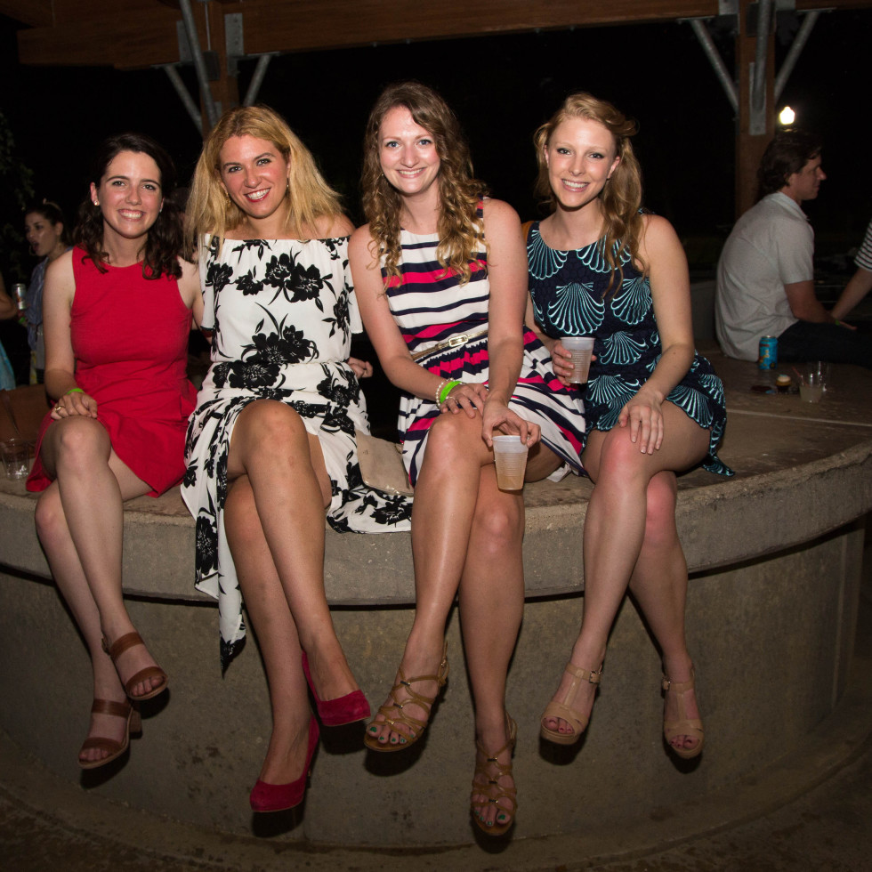 Carolyn Cooper, Sofia Frommer, Katie Magrogan, Alex Bush at Urban Green overboard party