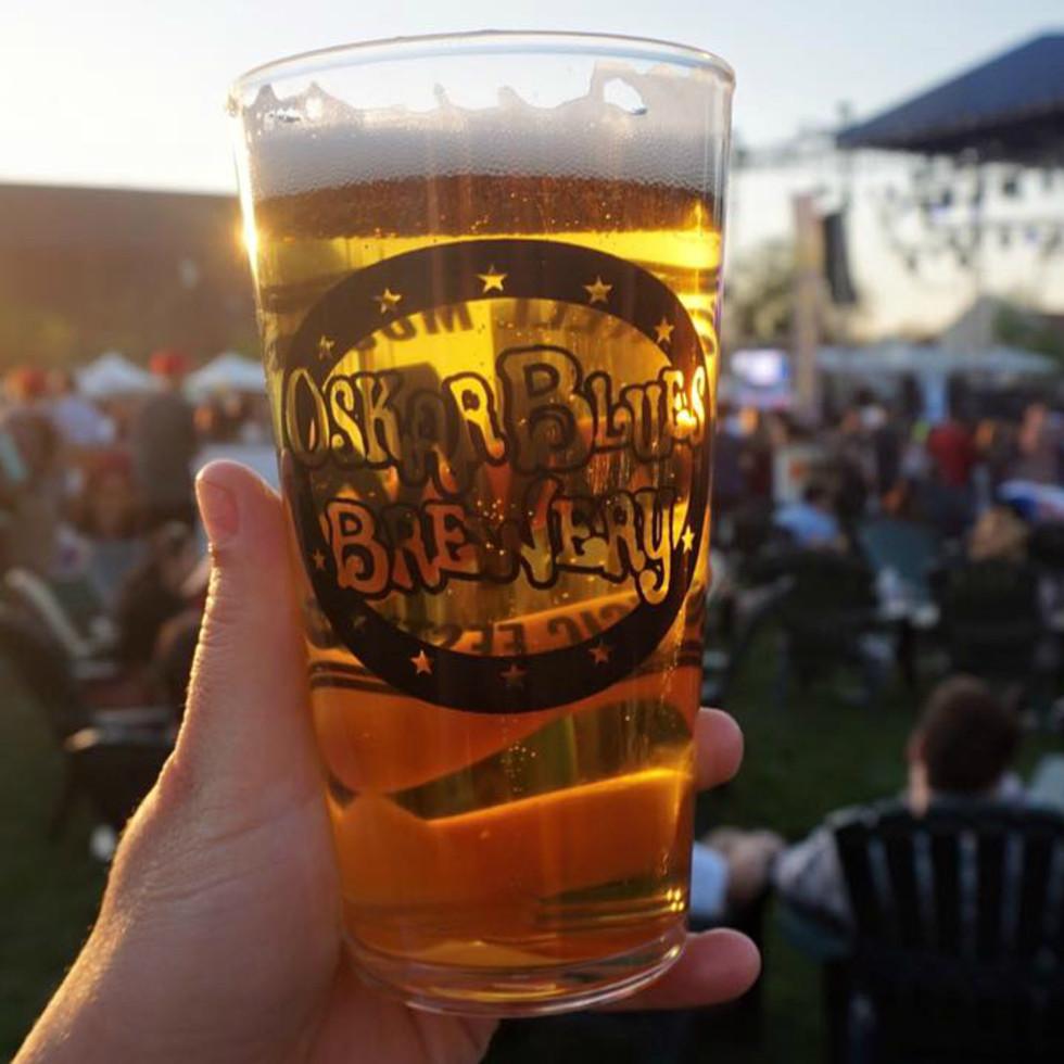 Oskar Blues beer brewery glass