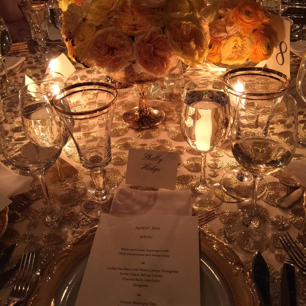 Van Cleef & Arpels party, April 2016, table setting