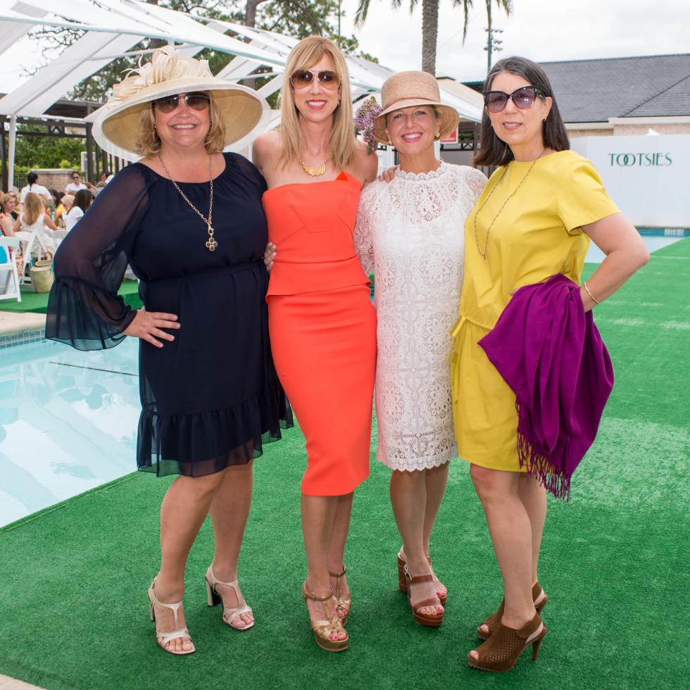 River Oaks Tennis Luncheon, April 2016, Julie Humphreys, Caroline Finkelstein, Libby Morrell, Susan Scotty