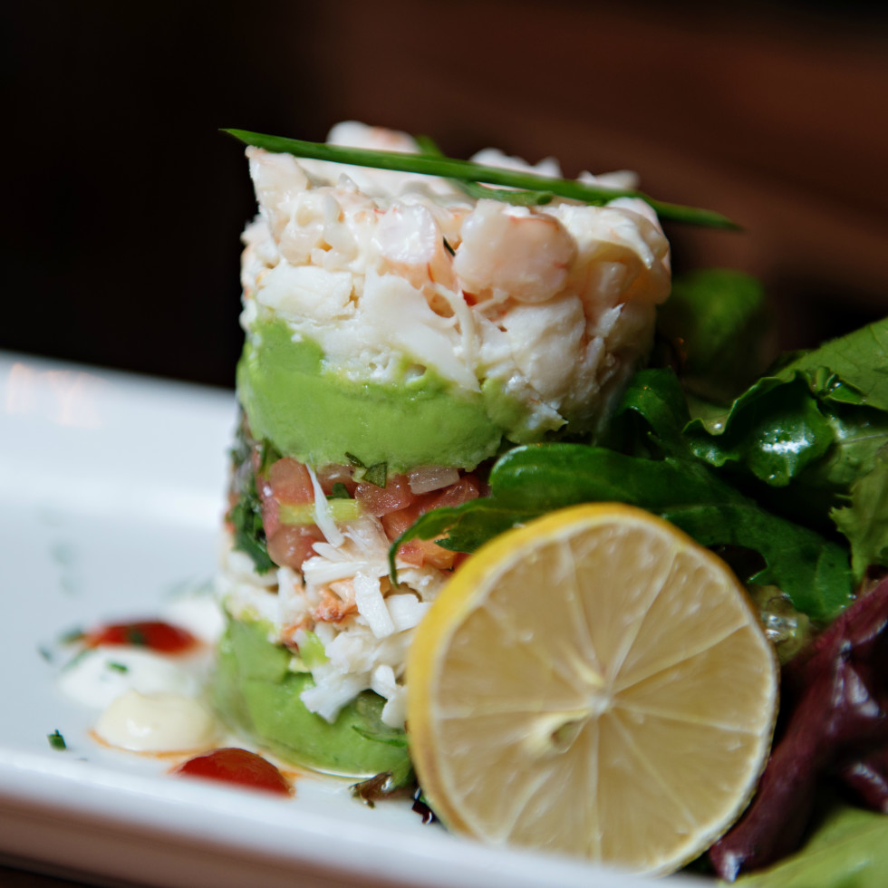 Cover 3 restaurant chilled shrimp crab tower