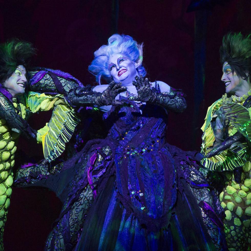 Scott T. Leiendecker, Jennifer Allen, and Jeffrey Christopher Todd in The Little Mermaid