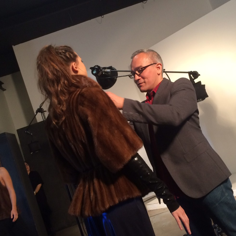 Cesar Galindo fall 2016 collection preparing model