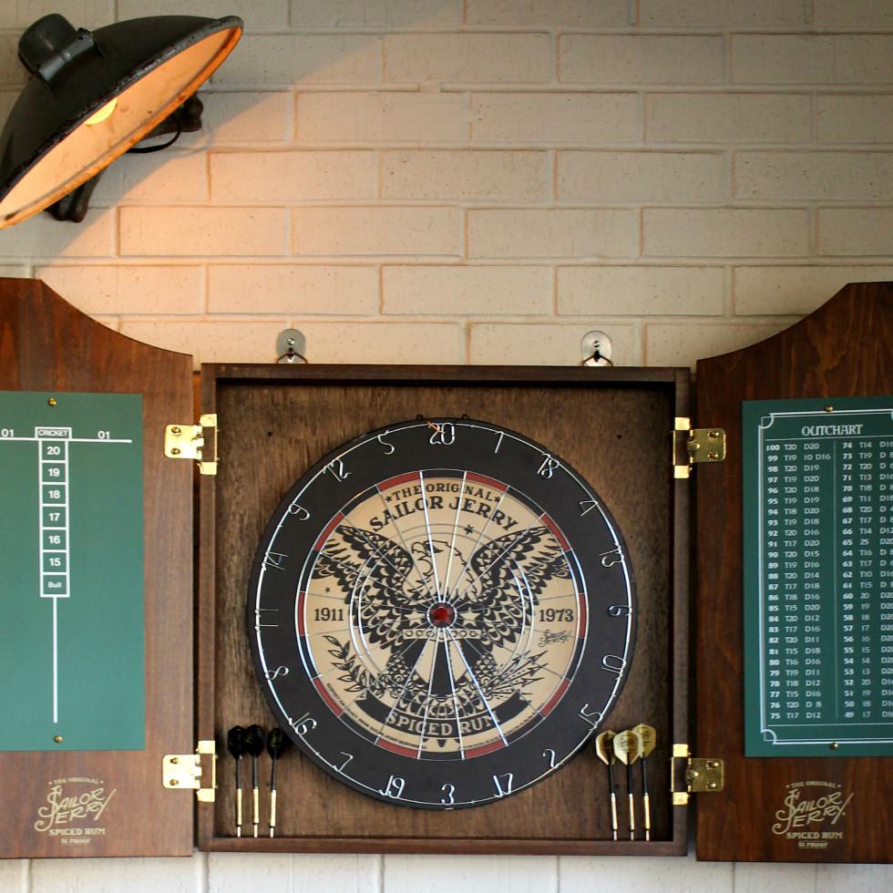 Parlor & Yard bar Dunlap ATX west sixth February 2016 Sailor Jerry dart board