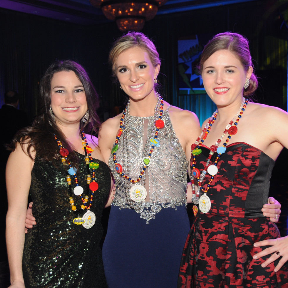 Knights of Momus Ball, Feb. 2016, Meagan O'Malley, Sara Maslonka, Hannah Wiley