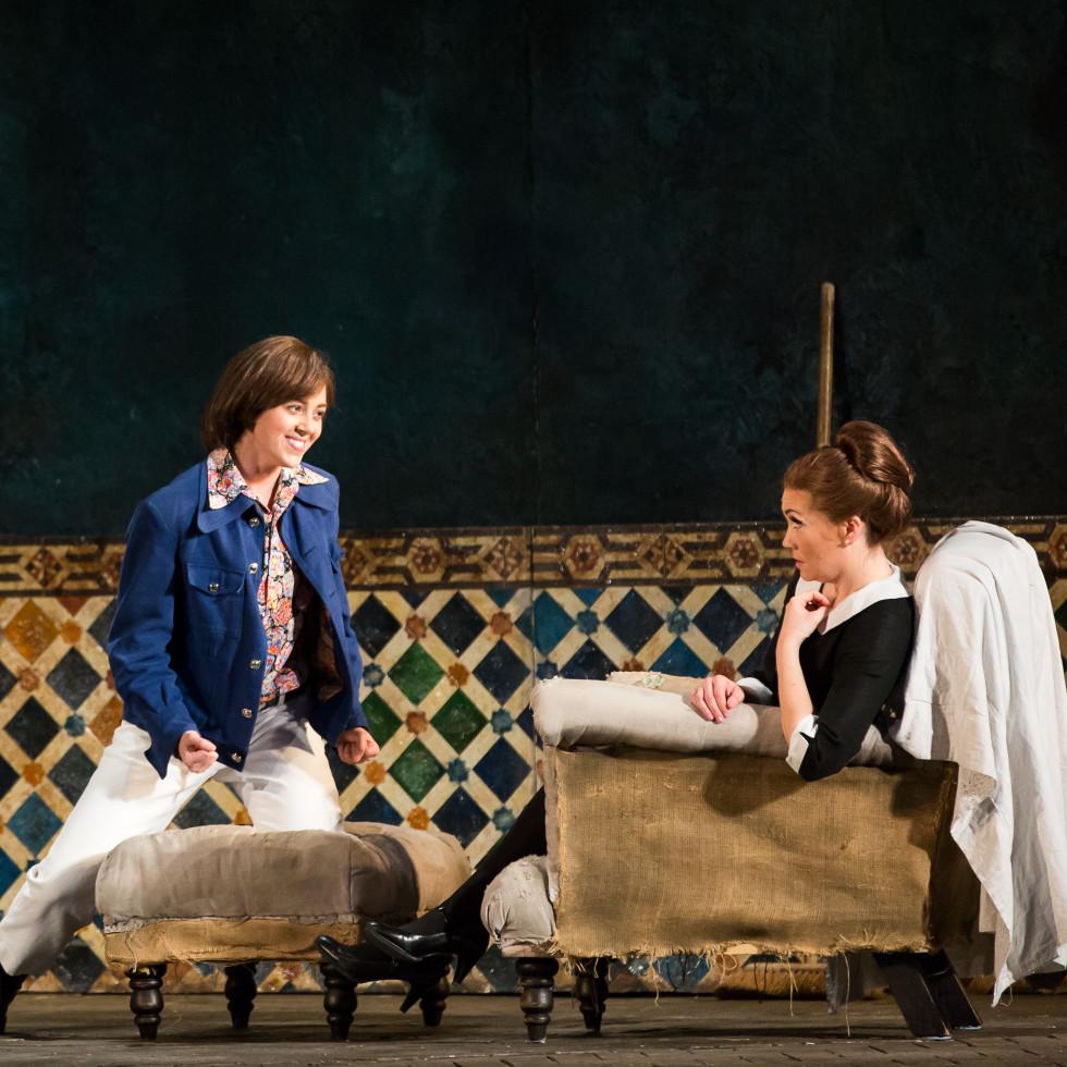 HGO Marriage of Figaro, Jan. 2016. Lauren Snouffer, Cherubino; Heidi Stober, Susanna