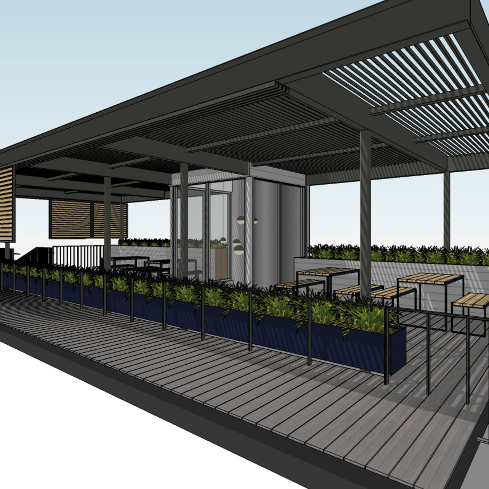 Backbeat bar South Lamar rooftop patio bar close up rendering December 2015