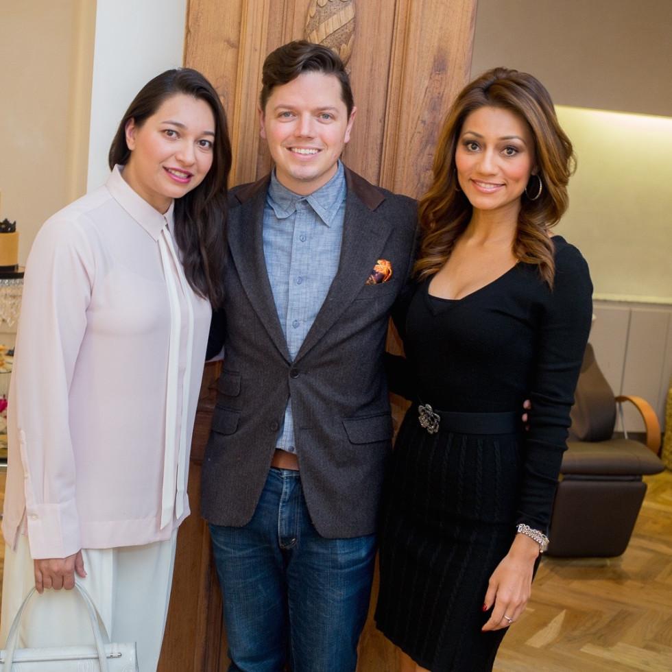News, Roja Dove event, Dec. 2015, Sameera Farida, David Peck, Rita Garcia