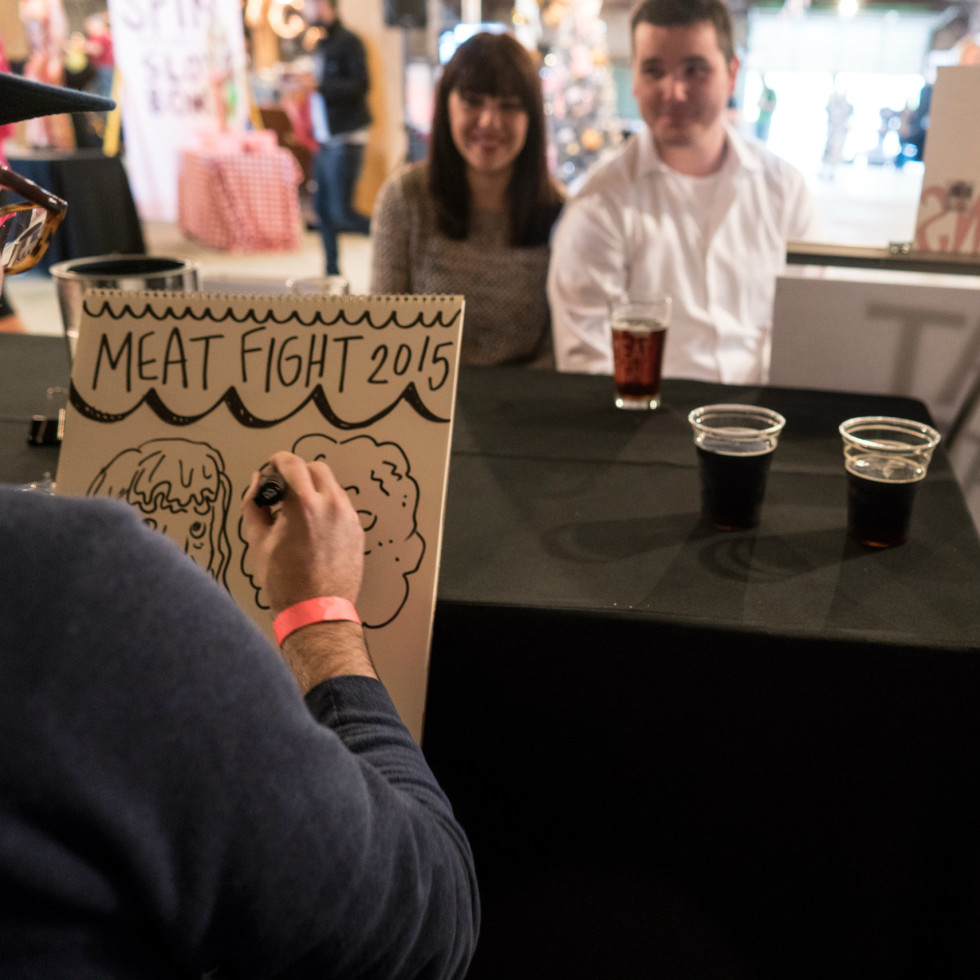 Caricature artist at Meat Fight 2015