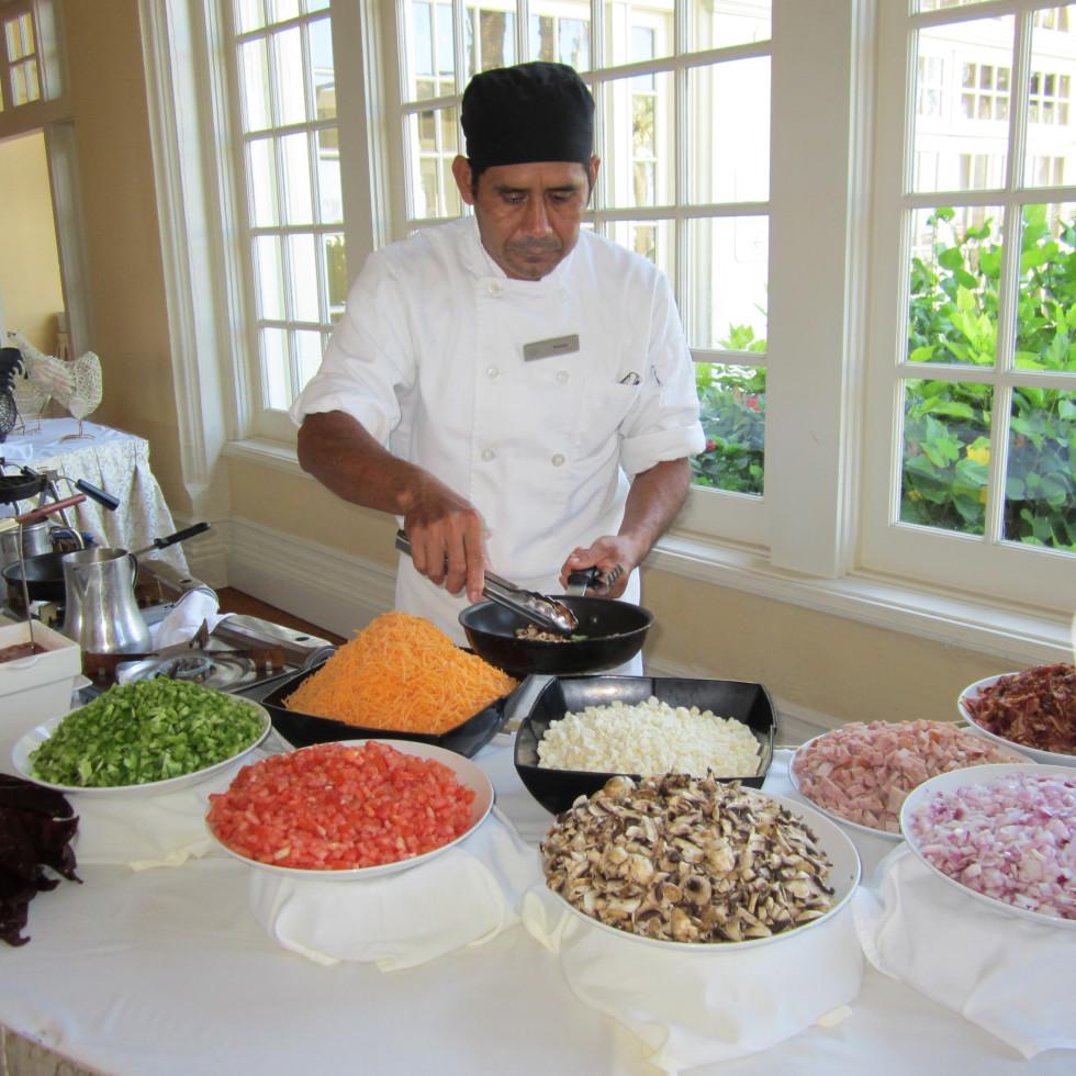 Hotel Galvez Sunday brunch omelet station