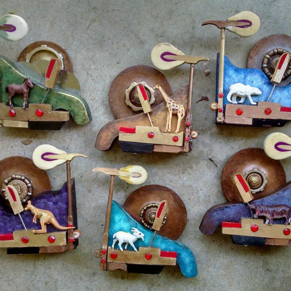Scott Rolfe Rusty Crocodiles piano hammer art 2015