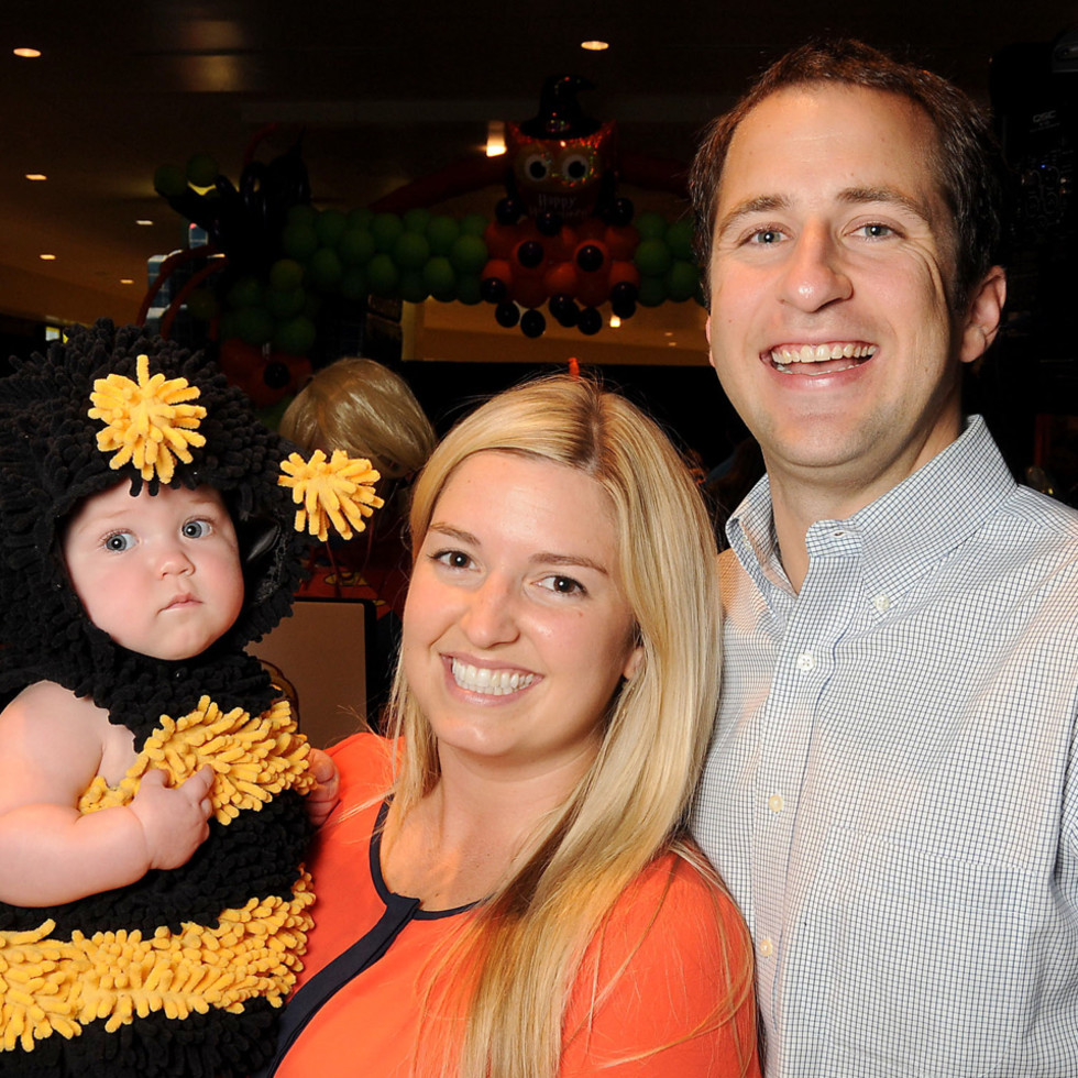 MD Anderson Halloween at the Galleria Erin and Daniel Fuchs with Emily Fuchs