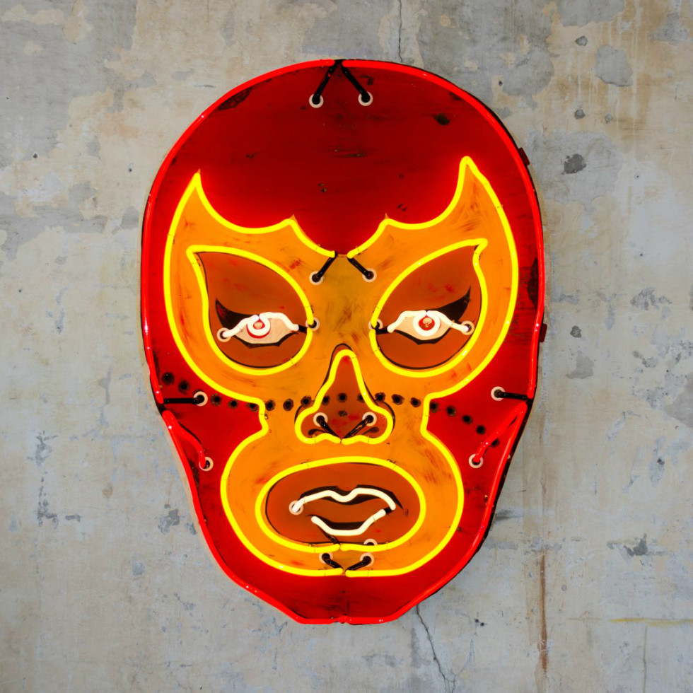 Todd Sanders luchador mask neon light sign Pop Austin International Art Show 2015
