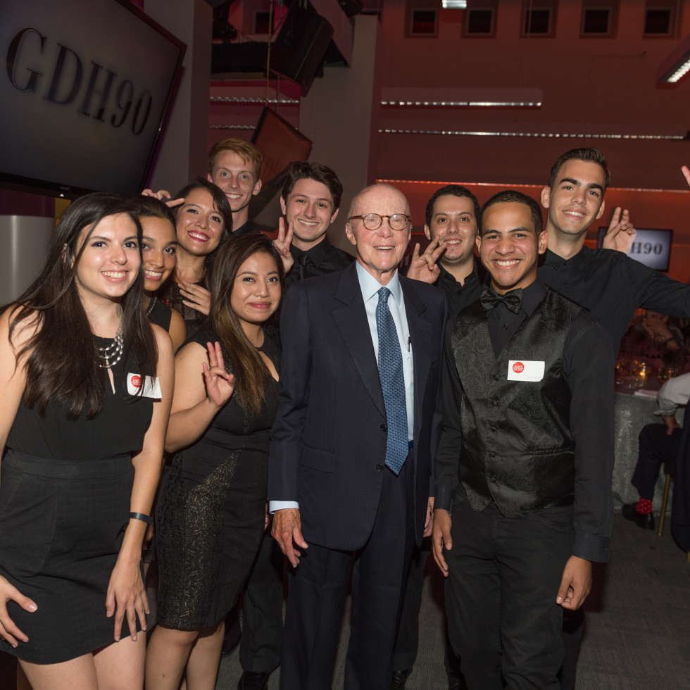 News, Shelby, Gerald Hines 90th birthday, Sept. 2015, Gerald Hines and architecture students