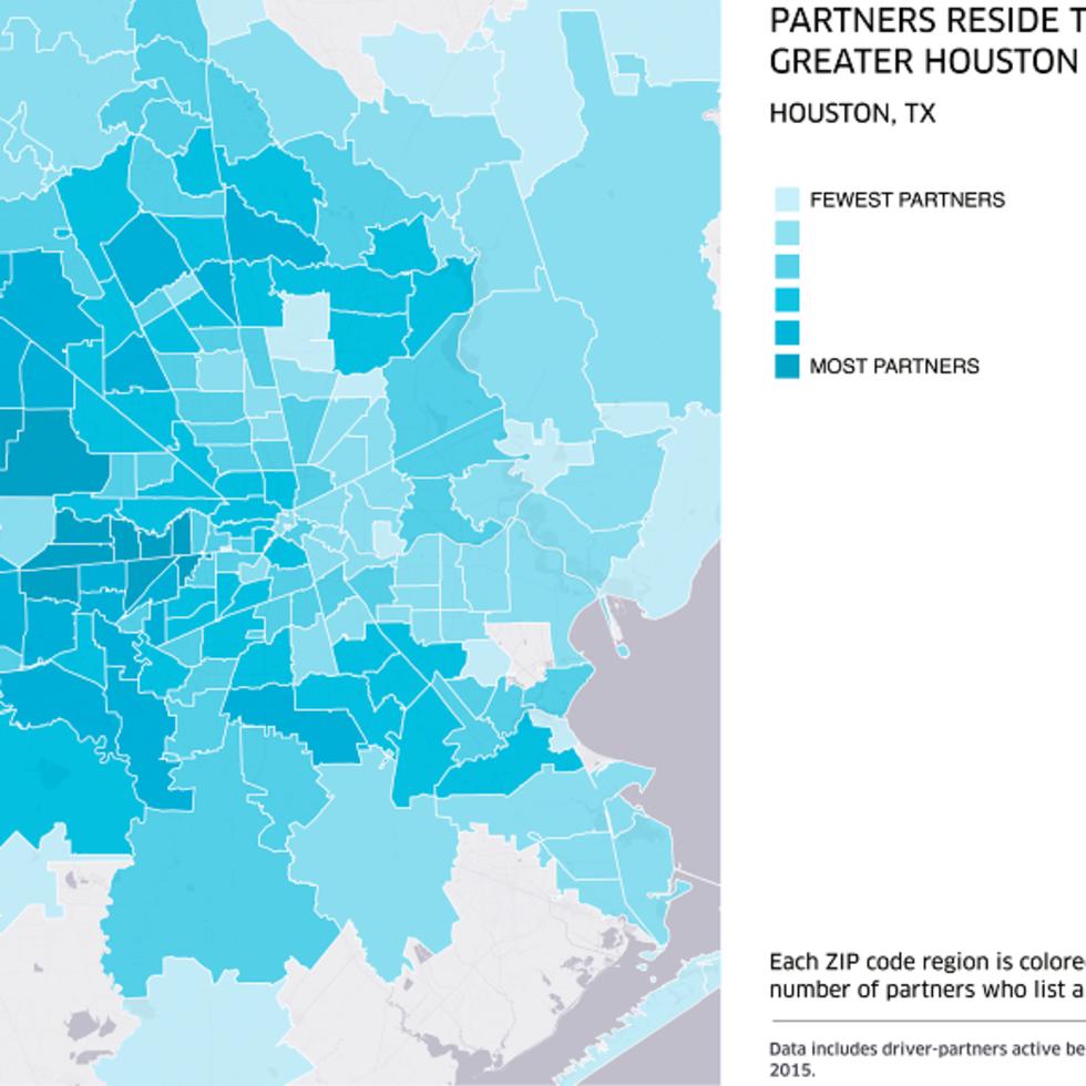 Houston, Uber, August 2015, where Uber partners reside graph