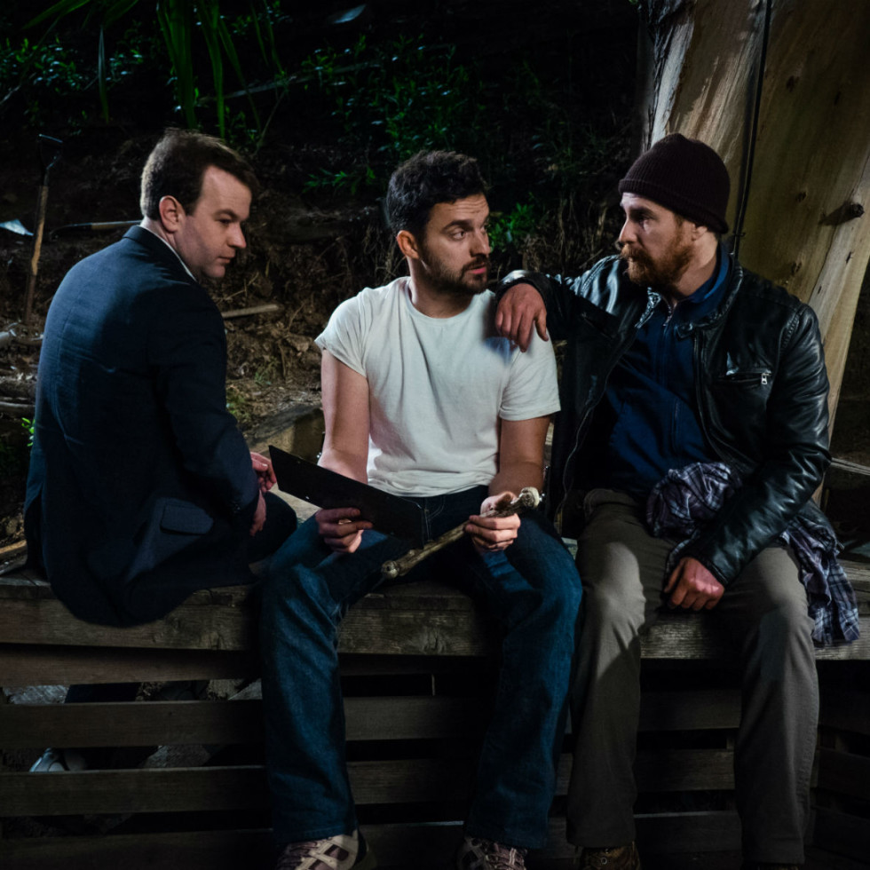 Mike Birbiglia, Jake Johnson and Sam Rockwell in Digging for Fire