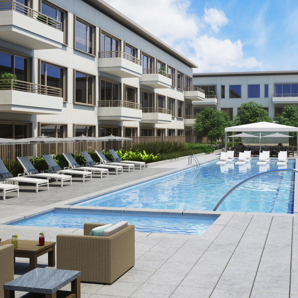 Pool at River Oaks District Grey House luxury apartments