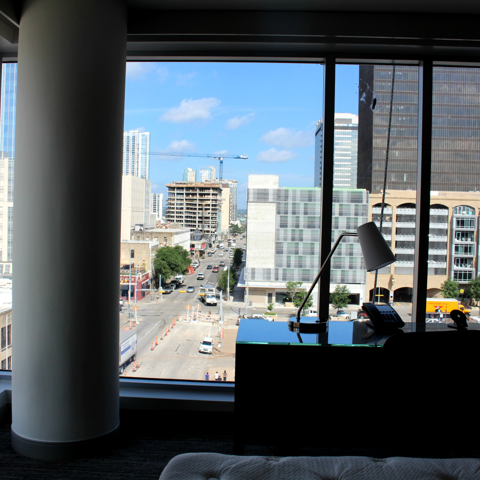 Westin Austin Downtown hotel guest room view desk 2015
