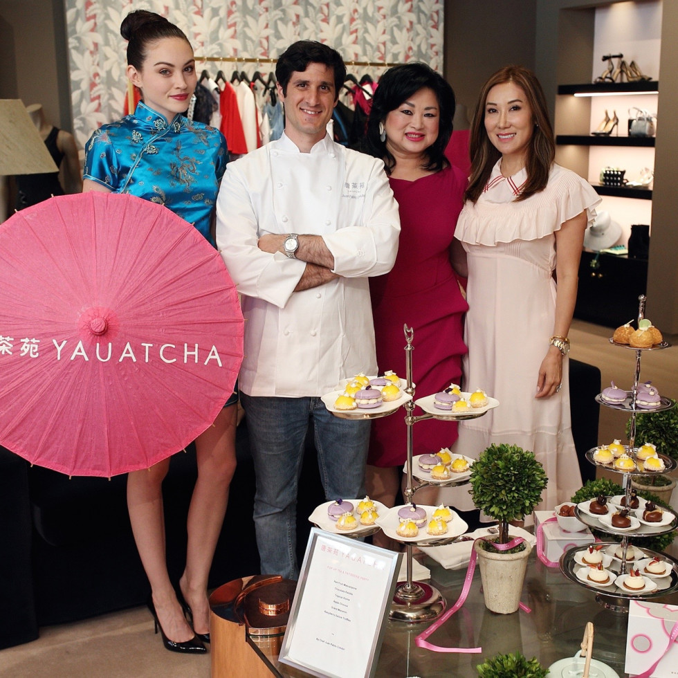The Webster party Yauatcha umbrella girl, Juan Pablo Colubri, Gigi Huang, Mandy Kao