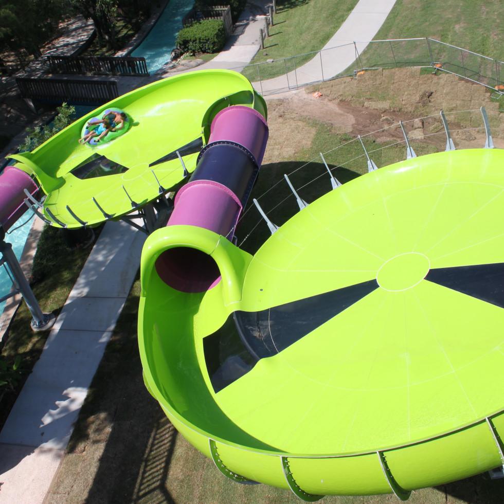 Houston, SplashTown Alien Crasher aerial view of double saucer, June 2017