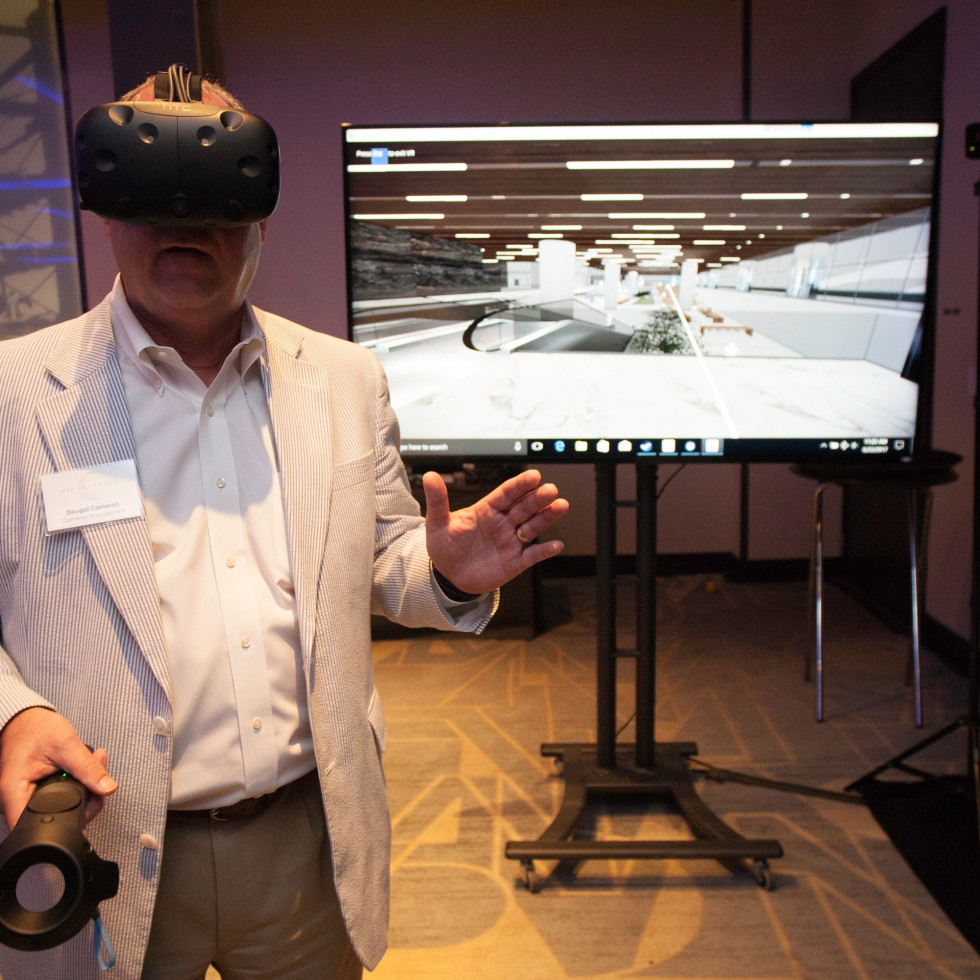 Capitol Tower guest takes part in VR experience