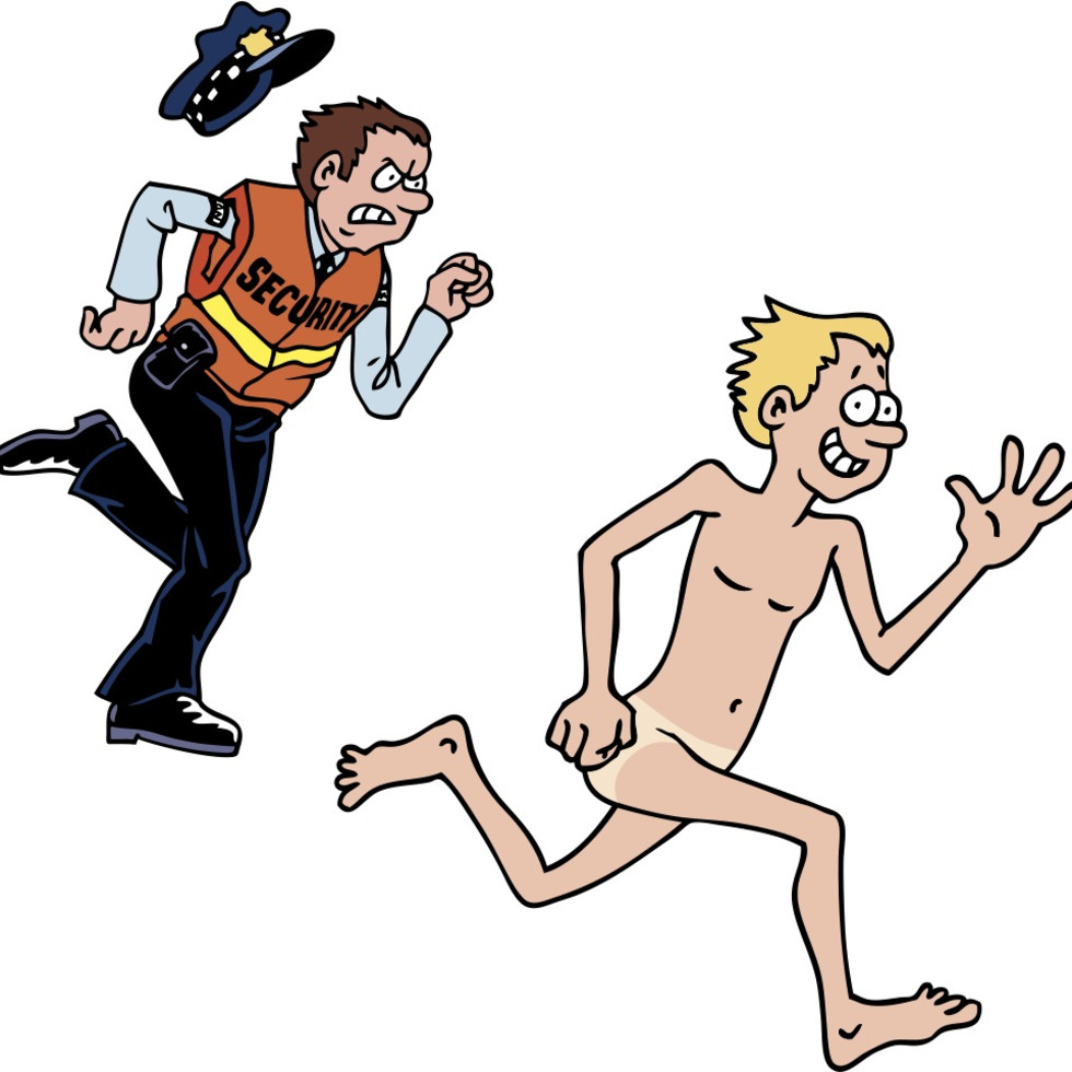 Security officer chasing naked man streaker