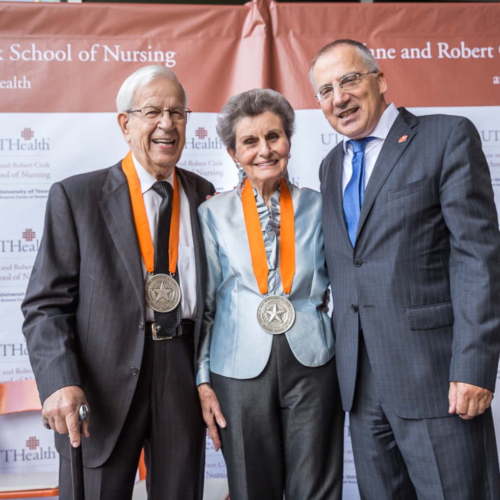 Robert and Jane Cizik with UTHealth President Giuseppe N. Colasurdo, M.D.