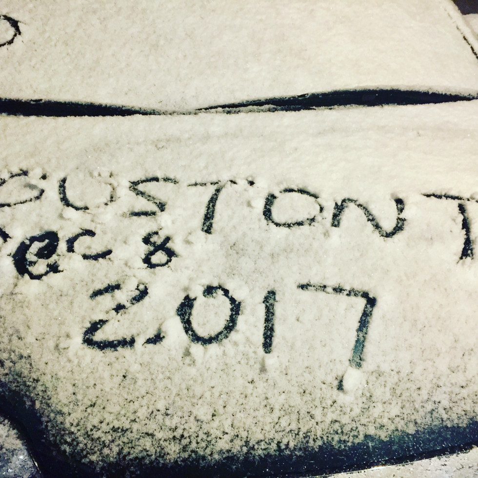Houston drawn on snow car