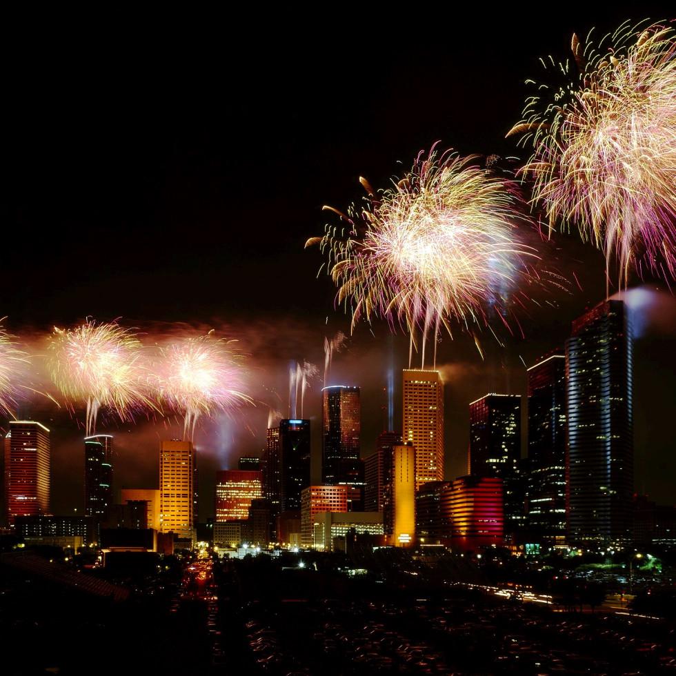 Houston - downtown fireworks