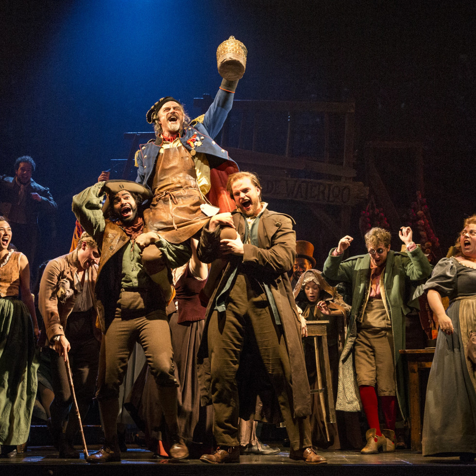 """The company of Les Miserables performs """"Master of the House"""" with J Anthony Crane as Thénardier and Allison Guinn as Madame Thénardier"""