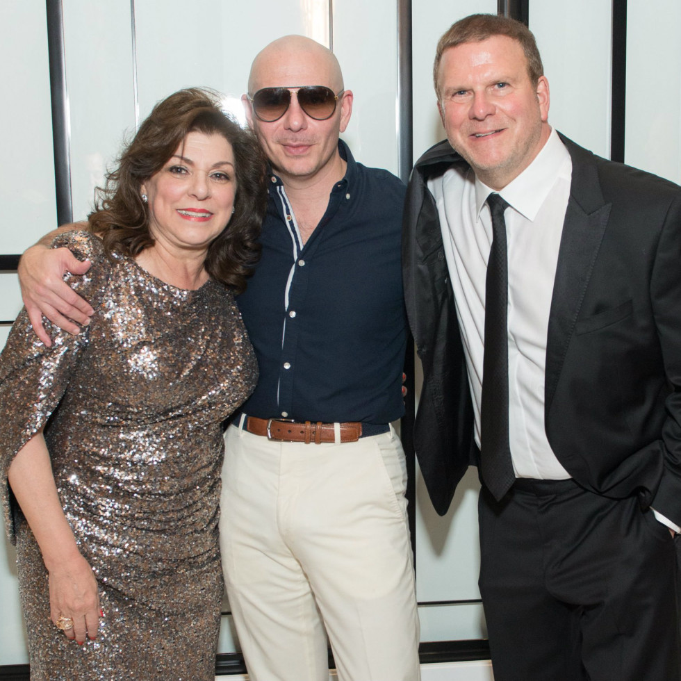 Laura Ward, Pitbull, and Tilman Fertitta