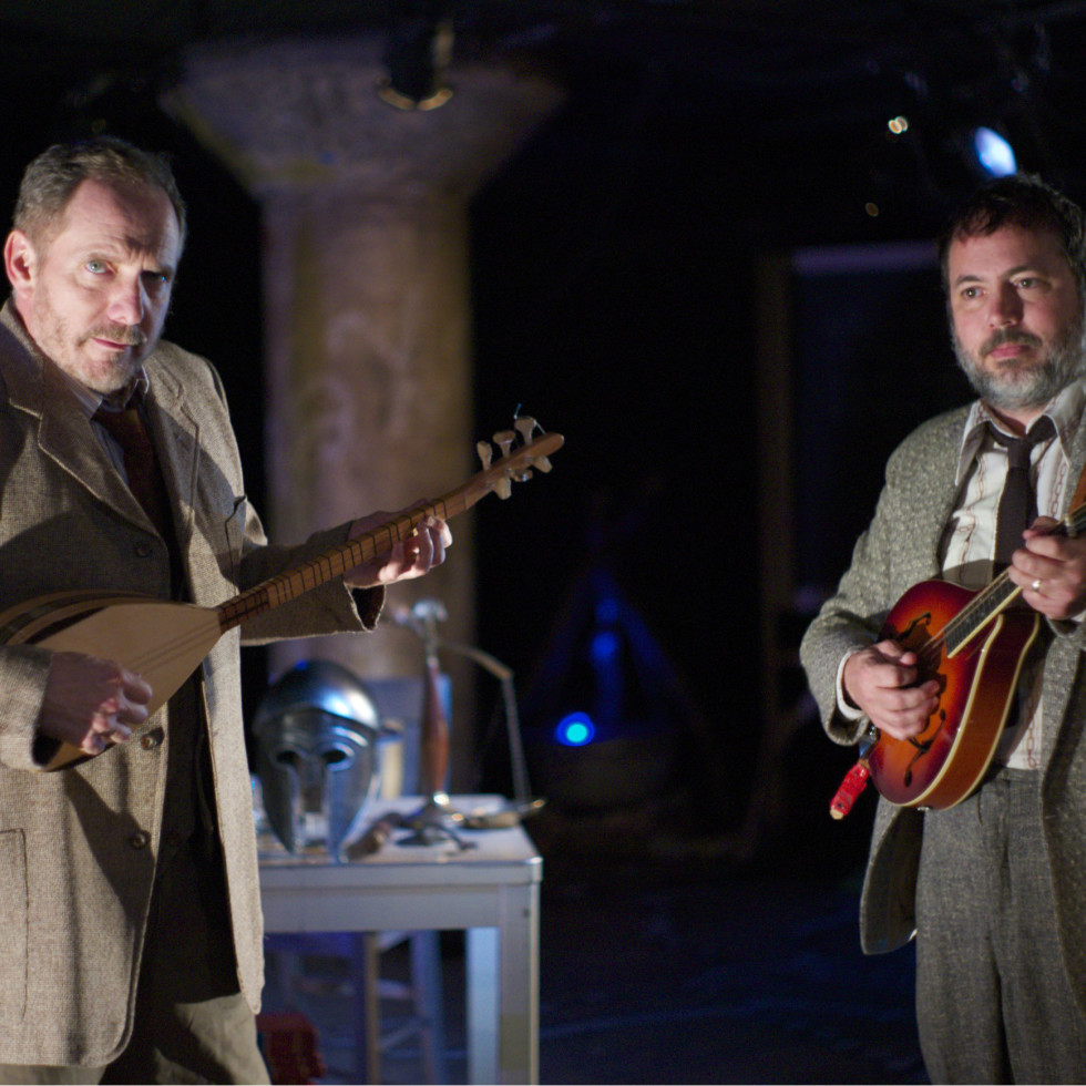 Bruce DuBose and Paul Semrad in An Iliad at Undermain Theatre in Dallas