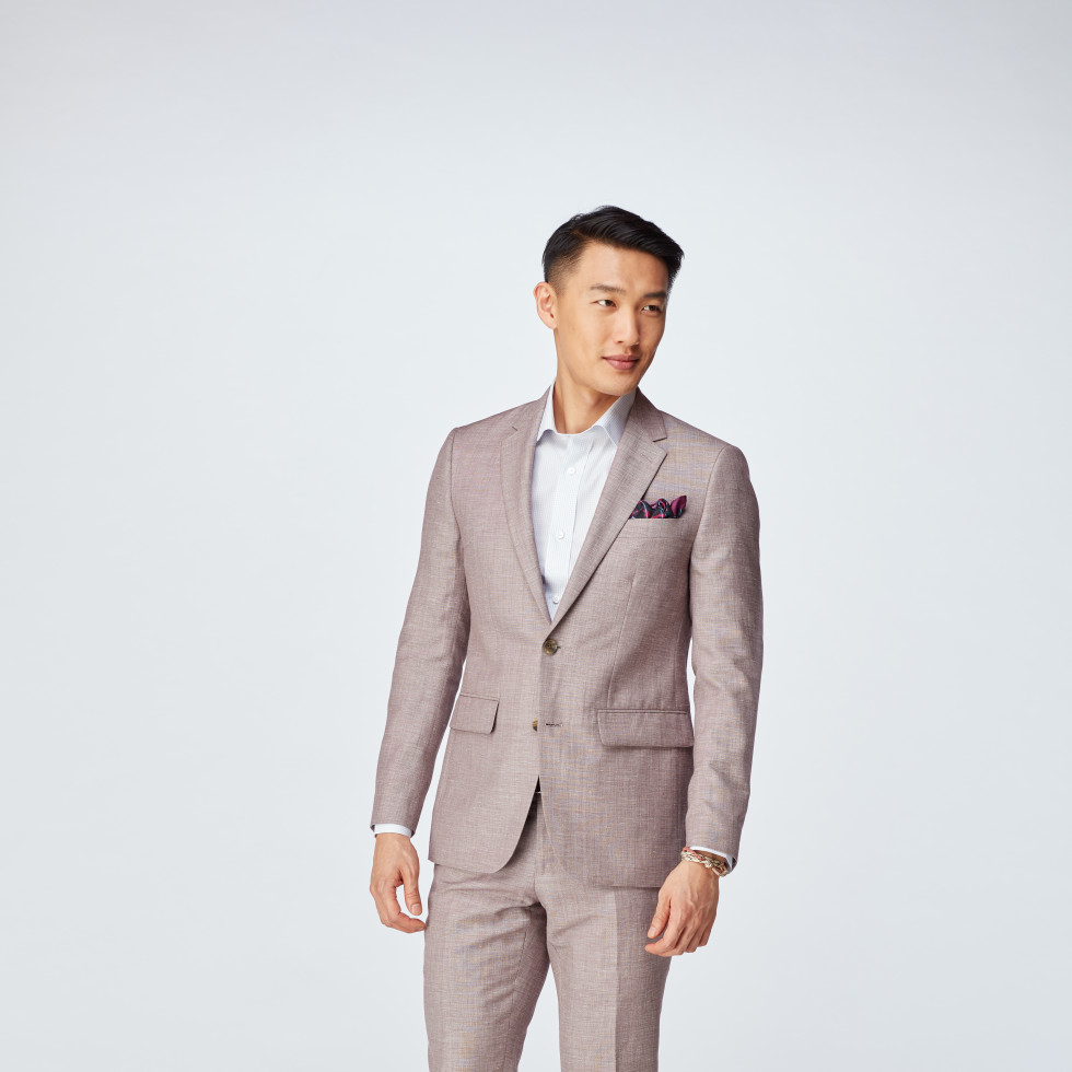 Burgundy Chambray Wool Linen Suit