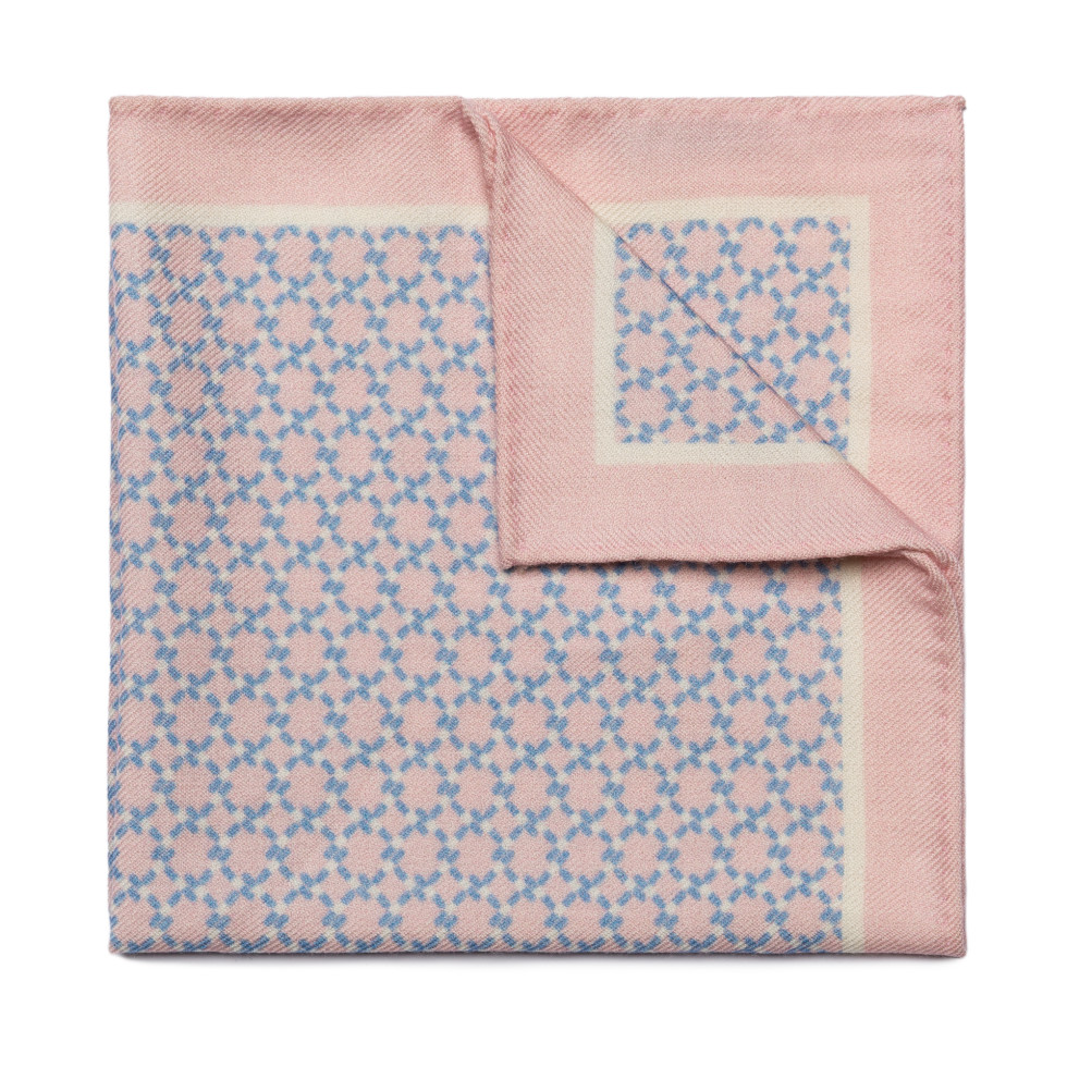 Weave Print Light Pink Pocket Square