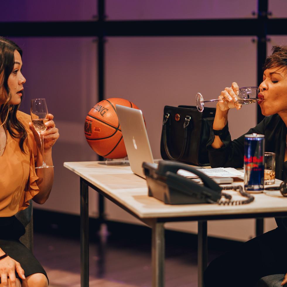 Olivia de Guzman and Kenneisha Thompson in King Liz at Amphibian Stage Productions