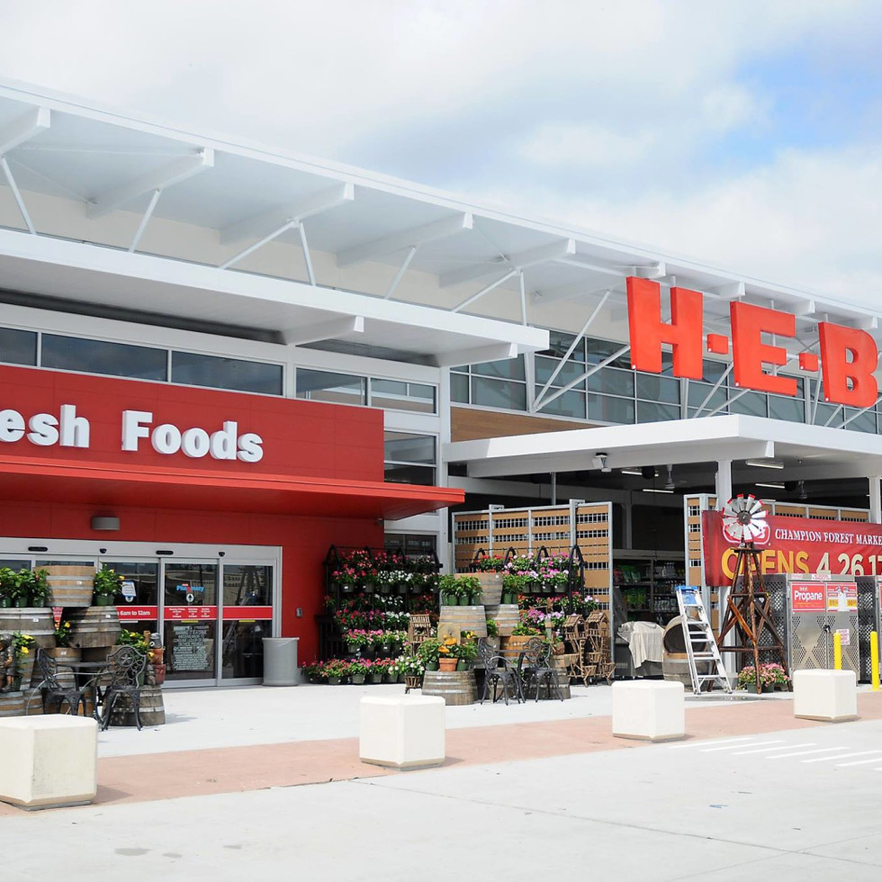 H-E-B grocery store front logo sign